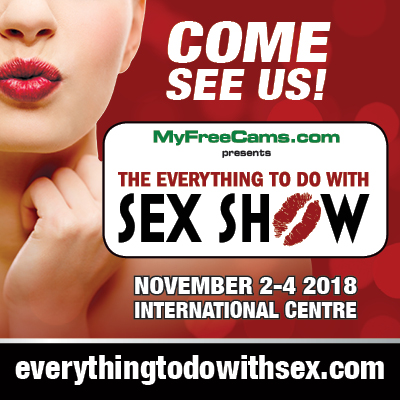 """taboo everything to do with sex show toronto [image description: a close up of a woman's lower face, she is pursing her lips to give a kiss while wearing red lipstick, her hand is under her chin. white text says """"come see us"""" followed by the logo for the Everything to do with sex show. The dates of the show are listed - November 2 to 4 at the International Centre Mississauga and the website is listed at the bottom]"""