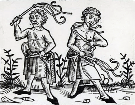 [image description: a medieval line drawing of two men flagellating themselves with disciplines - multi-tailed whips. they are both shirtless and look sad or distressed] classic discipline workshop peterborough