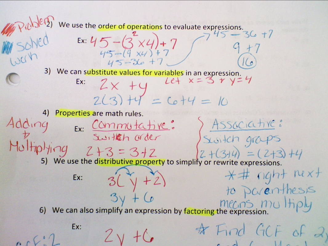 Algebraic Expressions Review 6 9