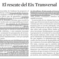 La Generalitat se plantea recuperar una de sus autopistas de peaje encubierto o diferido: el Eix Transversal