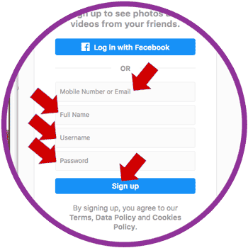 Instagram Sign Up PC