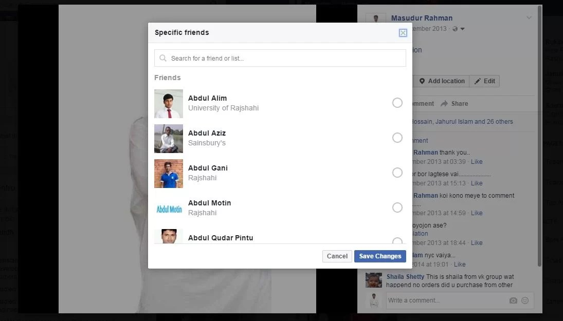 specific friends hide profile photo on facebook