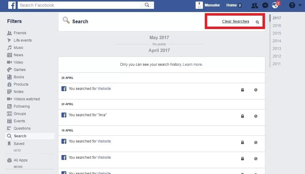 final step to delete search history from facebook search bar