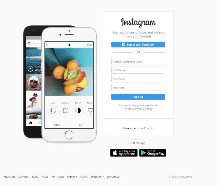 img how to use instagram on a pc- sign in page
