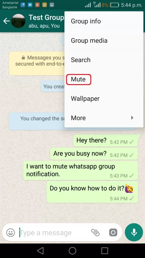 img1 mute whatsapp group notification on android and iphone