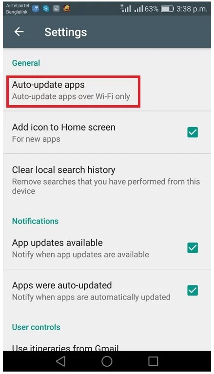 stop automatic update of android apps