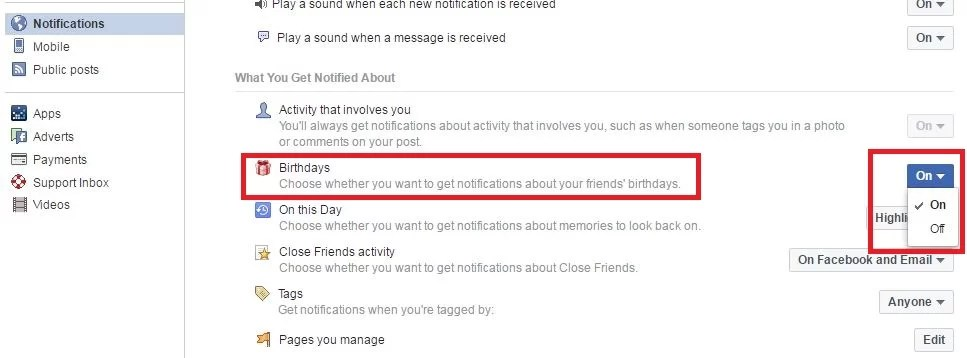 turn off birthday notifications on Facebook