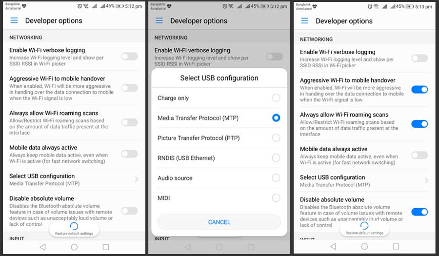 Network Developer Options Android