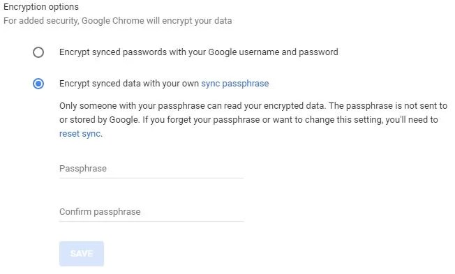 Encrypts data that you synchronize with Google