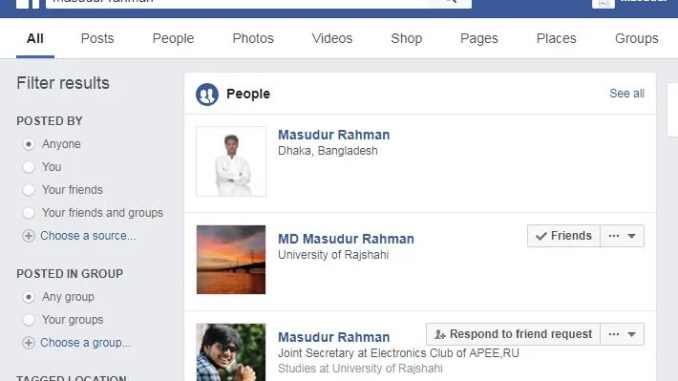 don't appear on facebook search result