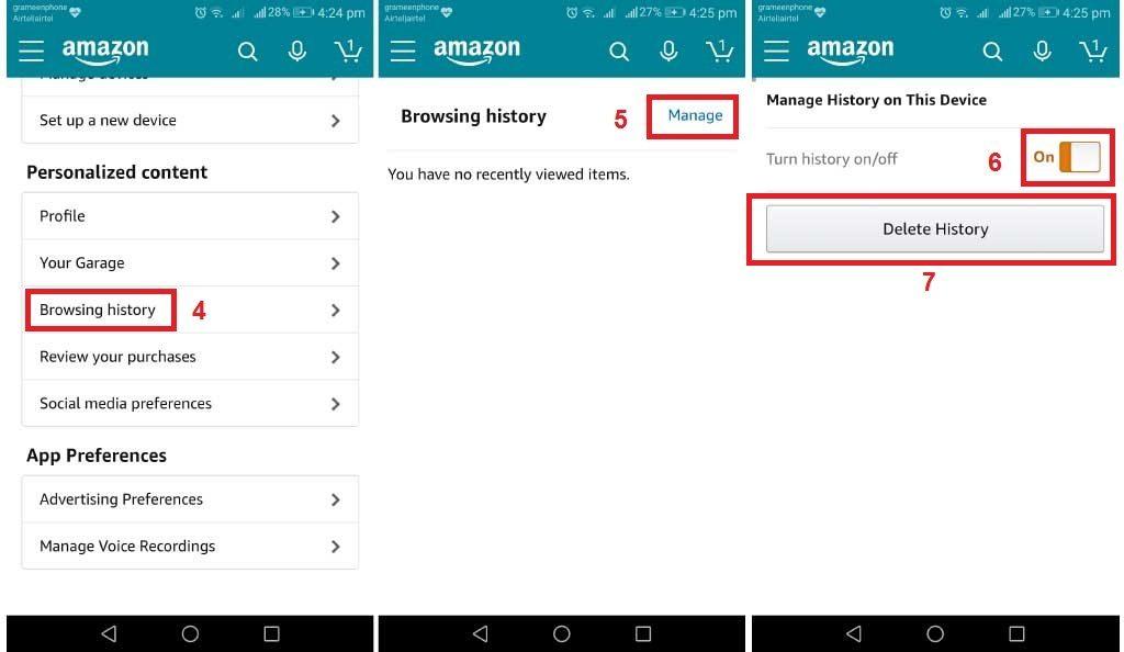 Delete browsing history on Amazon account