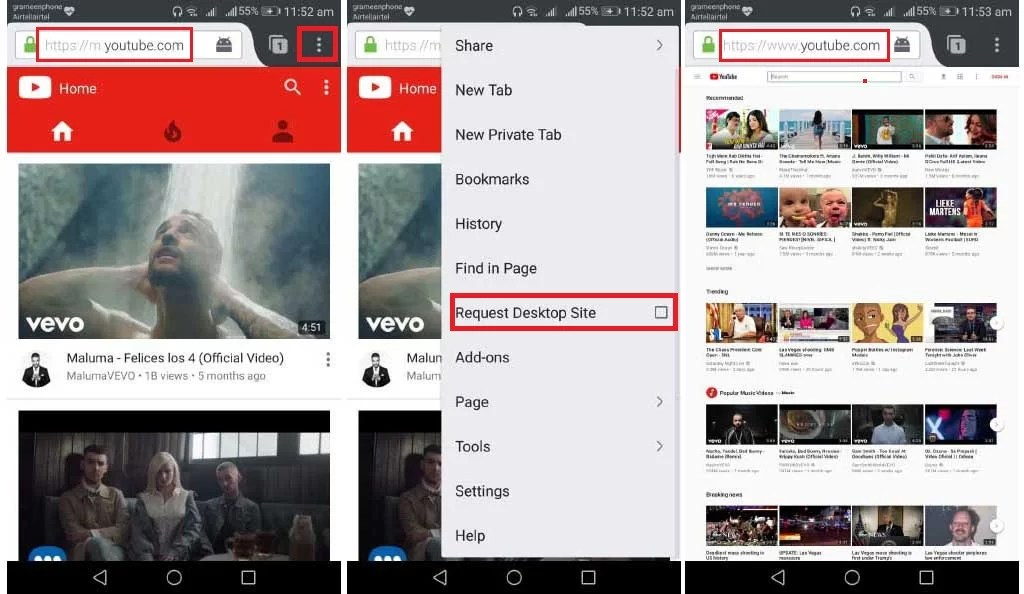 listen youtube background android Firefox
