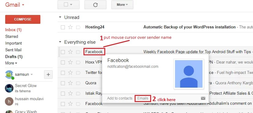 find all emails from a specific sender or email address