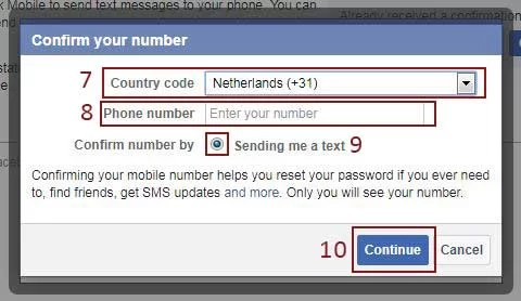 facebook add phone number