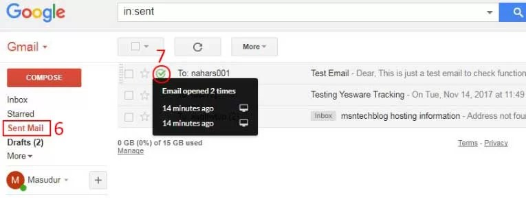 check gmail read confirmation
