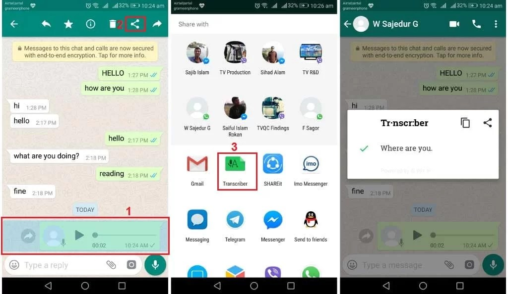 how to convert whatsapp voice notes into text