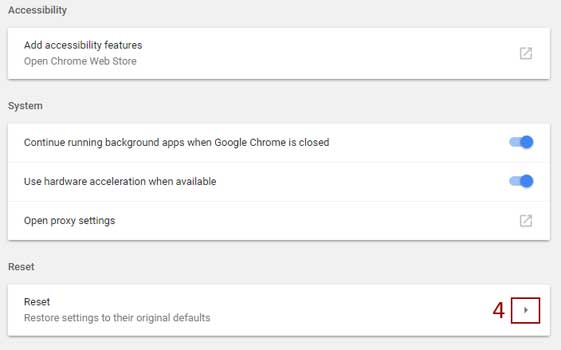 reset google chrome browser