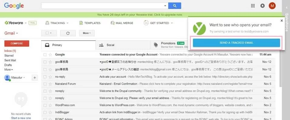 send test tracking email gmail