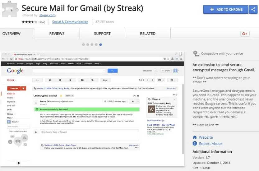 Secure mail gmail extension