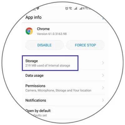 Storage of app cache