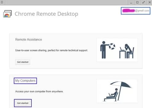set up chrome remote desktop extension