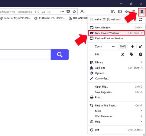 Firefox Incognito mode