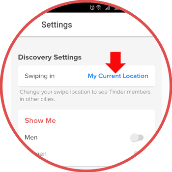 Tinder Location Setting