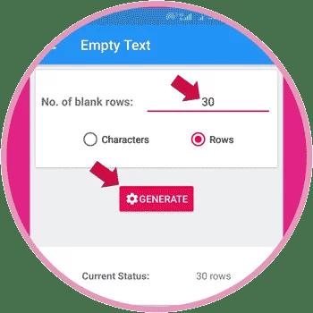 Type Empty Row Number