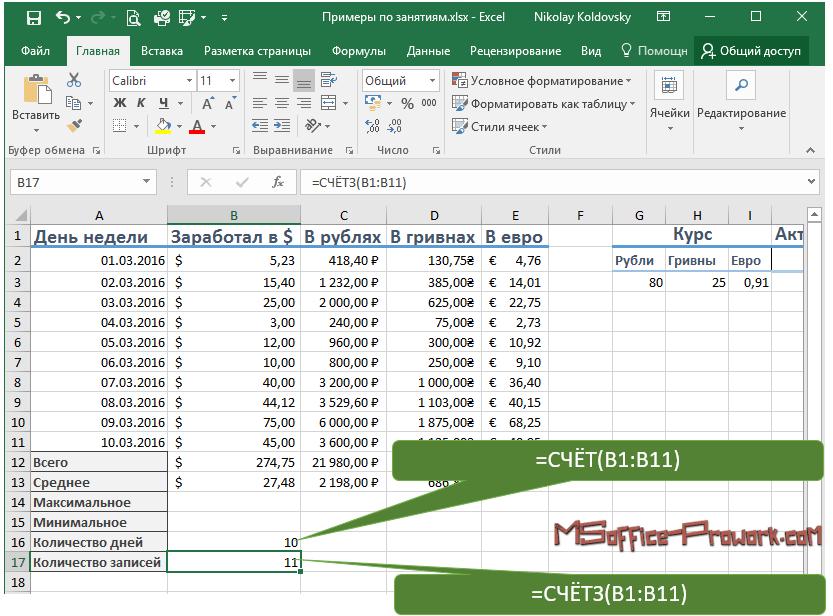 Подсчет ячеек с данными и с числовыми данными