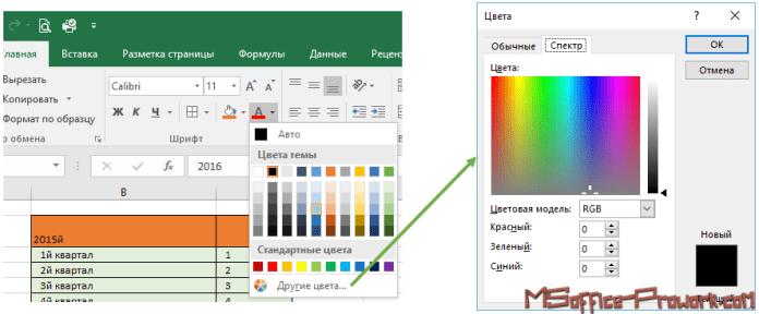 Настройка цветовой палитры