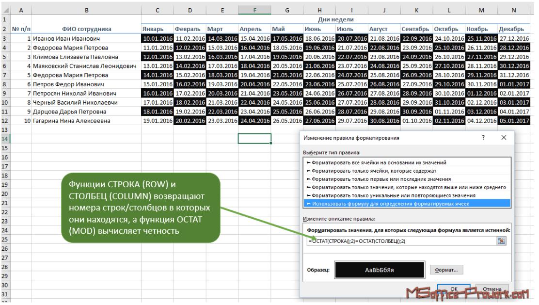 Пример создания шахматной доски с помощью условного форматирования