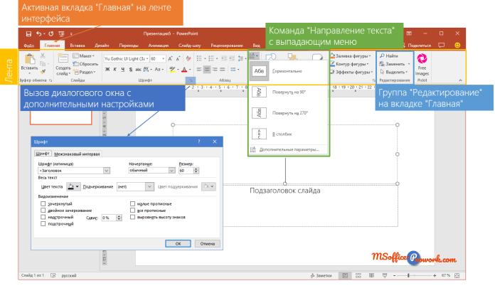 Основные элементы интерфейса PowerPoint