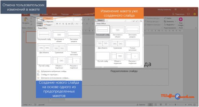 Добавление нового слайда на основе макета