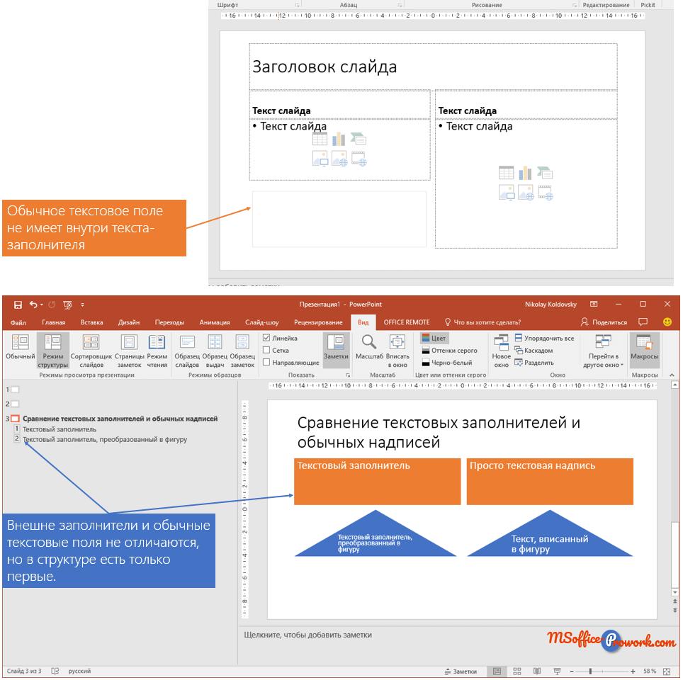 Надписи и текстовые заполнители на слайде PowerPoint