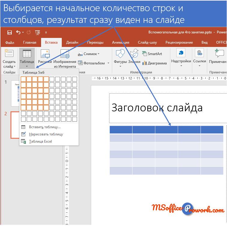 """Вставка новой таблицы с помощью команды """"Таблица"""""""