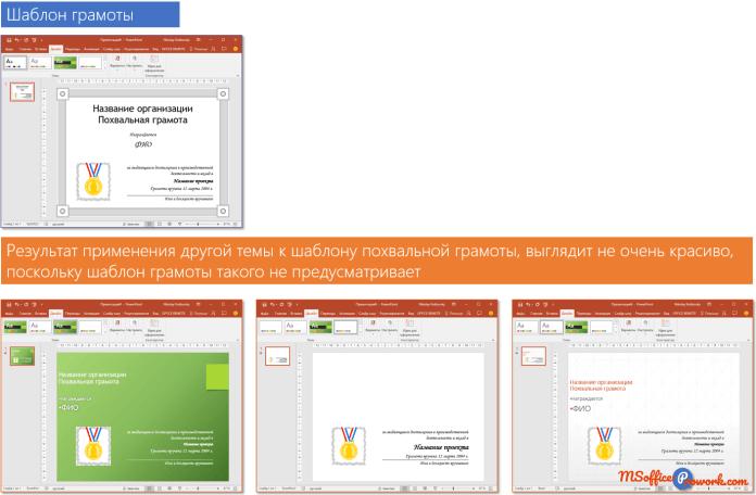 Применение различных тем к шаблону слайда