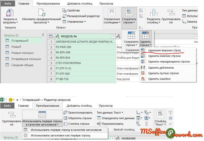 Базовое редактирование данных в Power Query