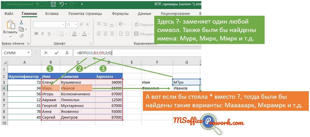 Использование заполнителей при поиске текстовых значений
