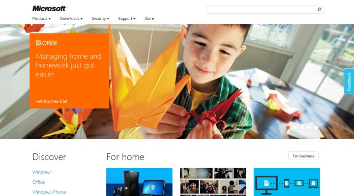 Microsoft homepage metro style