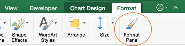 Вызов панели форматирования в Excel для Mac