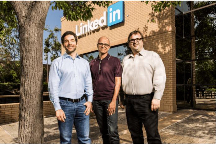 Сатья Наделла и соцчредители LinkedIn