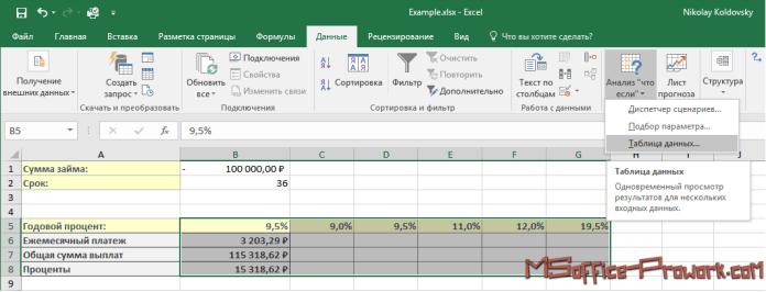 """Выбор инструмента """"Таблица данных"""" на ленте интерфейса"""