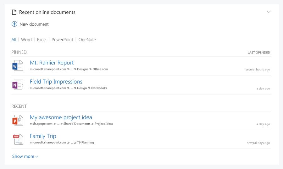 Последние документы на Office.com