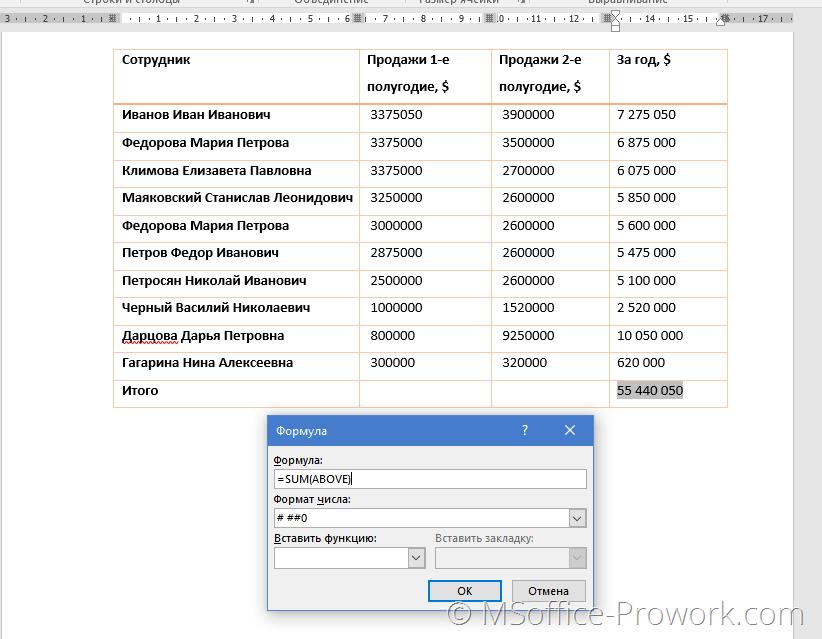 Итоговый результат вычислений в таблицах Word
