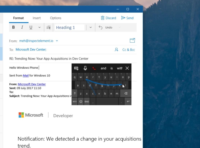 Новая сенсорная клавиатура в Windows 10 Fall Creators Update