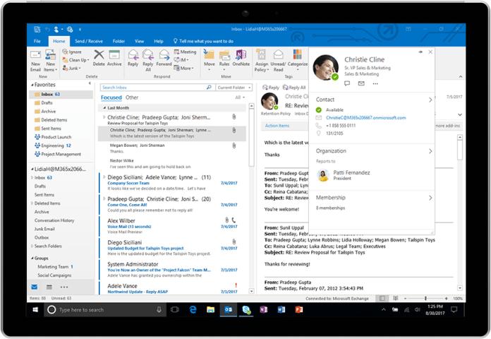 Расширенный профиль контакта в Outlook для Windows