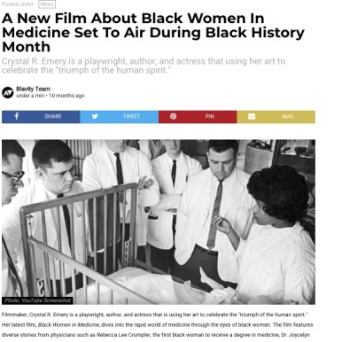 Blavity; feature coverage of Black Women in Medicine