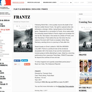 """Frantz"" U.S. French Embassy Arts & Culture"