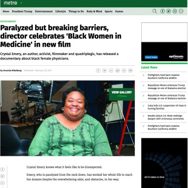 Metro News; feature coverage of Black Women in Medicine