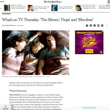 """""""The Silence"""" in The New York Times"""""""